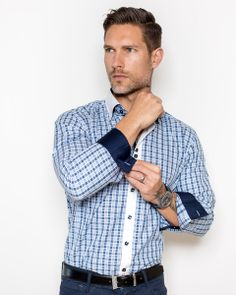 Plaid shirt for men by Maceoo | CheckMate square shades of blue