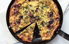 Mushroom, Leek, and Fontina Frittata :: campfire recipes :: Bon Appetit