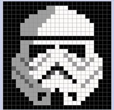 Star Wars Stormtrooper Pixel Blanket - Star Wars Stormtroopers - Ideas of Star Wars Stormtroopers - storm trooper pixel blanket Crochet Pixel, Star Wars Crochet, Crochet Stars, Crochet Afghans, Crochet Granny, Crochet Blanket Patterns, Baby Blanket Crochet, Knit Crochet, Pixel Crochet Blanket