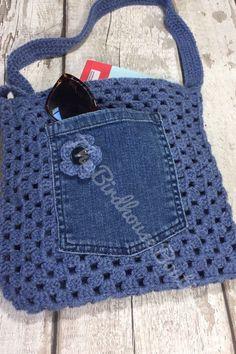 Handmade Granny Square Crochet Bag in blue with flower detail, denim pocket & li. Handmade Granny Square Crochet Bag in blue with flower detail, denim pocket & li… Handmade Grann Black Pocket Square, Pocket Square Styles, Men's Pocket Squares, Bag Crochet, Crochet Purses, Crochet Granny, Crochet Stitches, Crochet Patterns, Crochet Motif