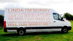 In an age of Twitter, Facebook and YouTube videos, one man took an old-fashioned approach to making an appeal for love, spelling out his heart on the side of his van.    (Press Association Via AP Images)