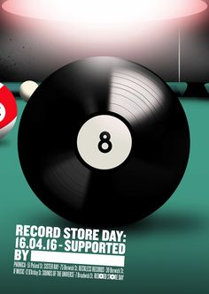 Record Store Day Posters by Senan Lee & Pansy Aung 'Pool' Illustrated by Mario Wagner #RSD16 #RSDUK #RecordStoreDay #Pool #Snooker #Bar #Pub