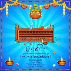 Lord Krishna with Hindi text meaning Happy Janmashtami festival of India — Stock Illustration