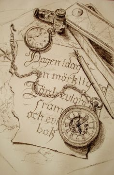 Vintage pocket watch sketch. Tattoo inspiration