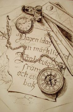 Vintage pocket watch sketch. Tattoo inspiration
