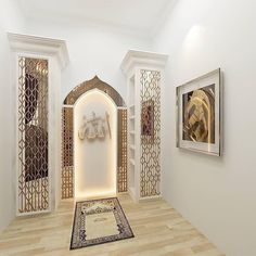 47 Praying Room Interior Design That You Can Try In Your Home # Design Room Interior Design, Home Room Design, Home Interior, Prayer Corner, Islamic Decor, Prayer Room, Prayer Closet, House Rooms, Design Design