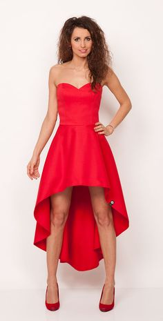 Luksusowa sukienka asymetryczna soczysto czerwona PERLA