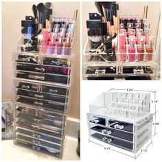 - Made of durable, clear acrylic. - Two piece set organizes all jewelry and/or cosmetics in one place. - Removable black mesh padding. - Completely removable drawers slide out smoothly. - Accessories