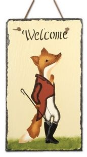 Snooty Fox Welcome Slate Fox Gifts & Collectibles - Fox Gifts - By Slates Ornate at Horse and Hound Gallery