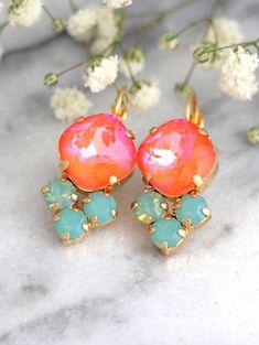 Tangerine Earrings Coral Mint Earrings Persimmon by iloniti Bridesmaid Earrings, Bridal Earrings, Crystal Earrings, Bridal Jewelry, Stud Earrings, Swarovski Gifts, Swarovski Crystals, Orange Earrings, Orange Crystals