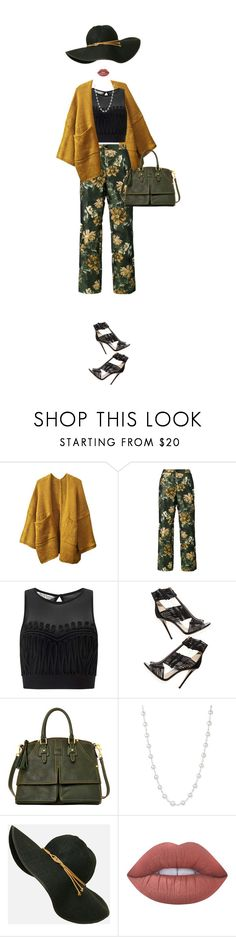 """""""Patterned Pants"""" by colierollers ❤ liked on Polyvore featuring F.R.S For Restless Sleepers, Miss Selfridge, Jimmy Choo, Dooney & Bourke, Belpearl and Lime Crime"""