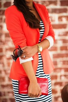 MODE THE WORLD: Amazing Peplum Blazer With Striped Dress and Shades