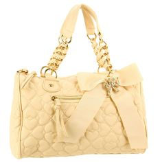 Betsey Johnson Quilted Love Satchel Bag – Ivory