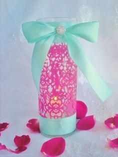 10 Wedding table centerpiece fuschia pink aqua by DellaCartaDecor, $14.99