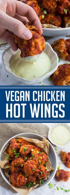 me: Vegan Chicken Hot Wings Vegetarian Chicken, Vegetarian Recipes, Cooking Recipes, Healthy Recipes, Vegetarian Hot Wings Recipe, Aioli, Vegan Cauliflower Wings, Vegan Wings, Vegan Comfort Food