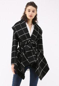Prairie Grid Rabato Coat in Black - TOPS - Retro, Indie and Unique Fashion Winter Jackets Women, Coats For Women, Unique Fashion, Winter Sweater Dresses, Retro Mode, Knitted Coat, One Piece Dress, Blazer, Vogue