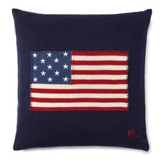 Ralph Lauren Home Rl Flag Cotton Throw Pillow Ralph Lauren Uk, Knitted Cushions, Luxury Throws, Cotton Throws, Cotton Pillow, Bedding Collections, American Flag, Early American, Decoration