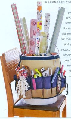 DIY Portable Gift Wrapping Bucket : 5-gallon bucket + tool belt... very smart to have everything ready when you need it!