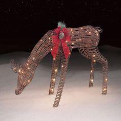 "Christmas 38"" Deer Buck Lighted Indoor Outdoor Bow Yard Art Figure Decoration  #Unbranded"