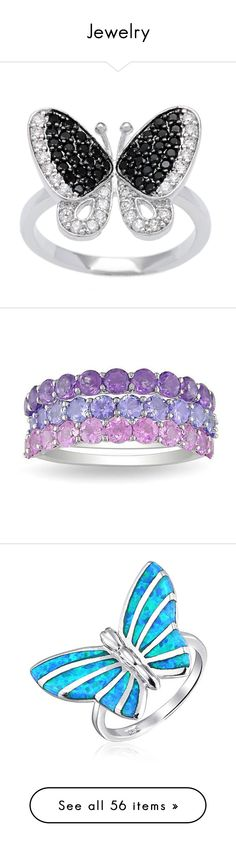 """""""Jewelry"""" by jinxl ❤ liked on Polyvore featuring jewelry, rings, cz cocktail rings, cubic zirconia rings, statement rings, butterfly jewelry, pave cocktail ring, purple, tanzanite ring and sapphire jewelry"""