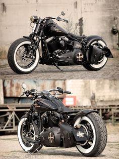 Customized Harley-Davidson Softail Cross bones Bobber by Thunderbike Customs #harleydavidsonsoftailcrossbones #harleydavidsonfatboy #harleydavidsonbikes #harleydavidsonsoftailcustom #harleydavidsonsoftailbobber