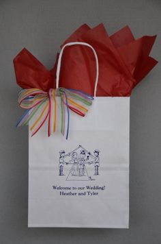Make your #weddingguestwelcomebag designed to match your personal style. Our cartoon #SwordArch Couple, designed by Caitlin Loe exclusively for www.favorsyoukeep.com, will work for many #militaryweddings. The bag is sturdy enough to hold 2 16 ounce bottles of water, 2 oranges, trail mix, microwave popcorn, and other local goodies. Questions? Call 512.323.0600. #weddingwelcomebag #militaryweddingideas