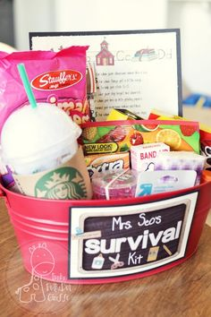 Teacher's survival kit:  Animal cookies for when your classroom seems like a zoo  Band Aids for when things get a little rough.  Chewing Gum to help you stick to it.  Crayons to color your day bright and cheerful.   A candle for when you are up late grading papers.  Erasers to remind you everyone makes mistakes.  Lifesaversfor when you've had one of those days.  Marbles to replace the ones you've lost.  A Mounds Bar for the mounds of confidence you give your students.