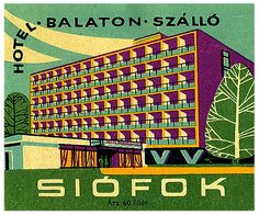 https://flic.kr/p/4KcFkY | Untitled | 60's modern luggage label for a hotel in Eastern Europe. siofok hungary hotel balaton