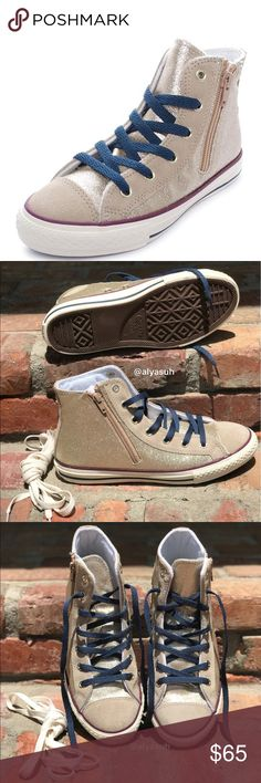 Converse CT Side Zip HI golden W, size 8W Upper: synthetic. Lining: textile. Outsole: rubber. Brand new with no lid box. No trades. Price is firm. Size 6 Junior = women's converse's size 8! Converse Shoes Sneakers