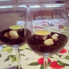 """Centrotavola """"il mare in bicchiere"""" sabbia e conchiglie da viaggi"""