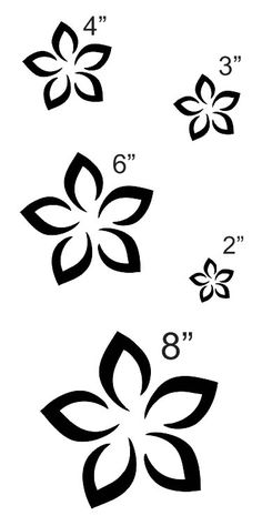 Flowers black and white clip art flowers black free images at plumeria flower 2 stencil sheet with 5 total sizes 2 3 mightylinksfo