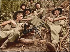 Australian soldiers from the Infantry Battalion, Division on the Kokoda Trail, New Guinea. Anzac Soldiers, Australian Defence Force, Anzac Day, World War One, British Army, Vietnam War, Military History, Wwii, Division