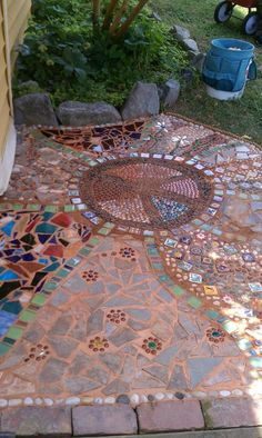 Beautiful walkway made with upcycle glass and tiles