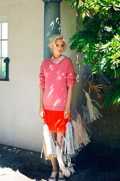 LAZY DAYS NATURAL BEAUTY LIGHT PINK COLLARED BUTTON UP BRIGHT PINK HONEYCOMB SWEATER BRIGHT O...