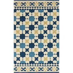 Hand-hooked Blue Moroccan Sapphire Indoor/Outdoor Rug (5' x 7'6) - Overstock™ Shopping - Great Deals on 5x8 - 6x9 Rugs