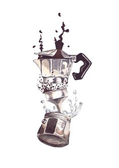 Framed watercolour print of a Moka pot But by StudioandSketch