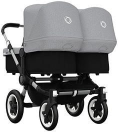 Bugaboo Donkey Twin Stroller Bundle, Aluminum Base in Grey Melange Tailored Fabric Set