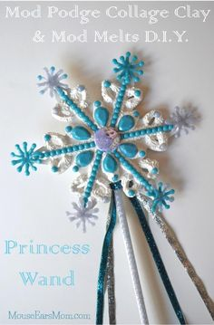 #Frozen Inspired #ModPodge Collage Clay Wand. Love #Plaidcrafts !