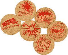Comic Book Cork Coasters