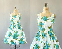 Vintage 50s Dress/ 1950s Cotton Dress/ Turquoise Floral Cotton Dress w/ Full Skirt L