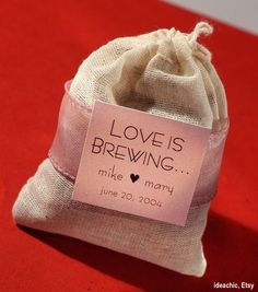 """Love is Brewing"" Tea Bag or coffee Wedding/ bridal shower Favor - other messages could be ""a custom blend"" or ""tea for two"". Coffee Favors, Coffee Wedding Favors, Tea Favors, Wedding Gifts, Party Favors, Wedding Souvenir, Wedding Guest Favors, Halloween Wedding Favors, Wedding Tokens"