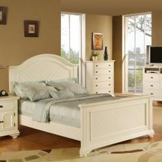 @Overstock - Material: Hardwoods and MDF    Finish: Cottage black finish    Color: White     http://www.overstock.com/Home-Garden/Napa-White-Full-size-Bed/6316071/product.html?CID=214117 $610.99