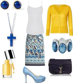 """Blue and Yellow Easter Church Outfit"" by marissa-anne-weddle on Polyvore"