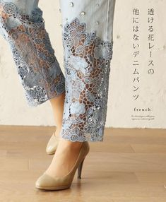 Diy Clothes Refashion Jeans Lace 54 Ideas For 2019 Diy Jeans, Lace Jeans, Sewing Jeans, Denim Fashion, Fashion Pants, Trendy Fashion, Fashion Dresses, Fashion Hair, Fashion 2018