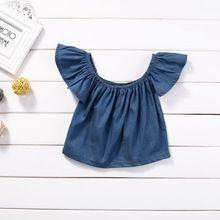 Princess Kids Baby Girls Blouse Summer Style 2017 Fashion Short Sleeve Off Shoulder Blouses Shirt Tops Tees Demin Blue♦️ SMS - F A S H I O N 💢👉🏿 http://www.sms.hr/products/princess-kids-baby-girls-blouse-summer-style-2017-fashion-short-sleeve-off-shoulder-blouses-shirt-tops-tees-demin-blue/ US $3.29