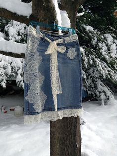 COUPON CODE Charming Upcycled Denim Knee-Length by DragonflyDenim