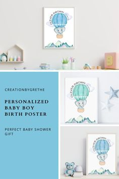 This cute elephant personalized birth stats wall art is perfect to decor your little baby boy's nursery and it also makes a great gift for a new born. It comes in two colors. You can print at home, take it to a local printer. Pin to save for later or click to shop now. #babyboybirthstats #personalizedbabyboyname #boysroomdecor #kidsroomdecor #kidsroomprnt Playroom Wall Decor, Boys Room Decor, Kids Room, Elephant Birth, Elephant Print, Playroom Printables, Baby Posters, Baby Boy Nurseries, Baby Prints