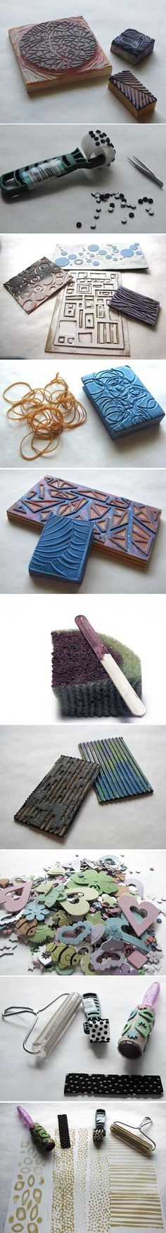 many DIY stamp ideas & instructions -- from Judi Hurwitt at Approachable Art, here: approachable-art....