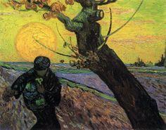 GEEL: Bij geel denken we natuurlijk al snel aan de zon. En bij de zon komen er verschillende kunstenaars bovendrijven. Ieder deed zijn eigen poging het schitterende licht van de zon op het doek uit te drukken. De een deed dit heel direct (een cirkel met stralen) en de ander heel indirect (difuus licht, een gloed etc.). Wat is uw favoriete zon? Vincent van Gogh, 'De zaaier', 1888
