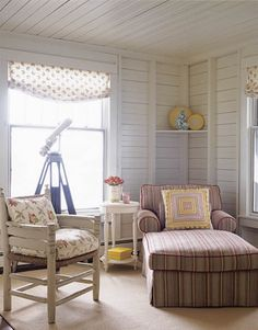 Sitting room/guest room:  Chair and ottoman fabric (Decorator's Walk - Epingle Stripe)
